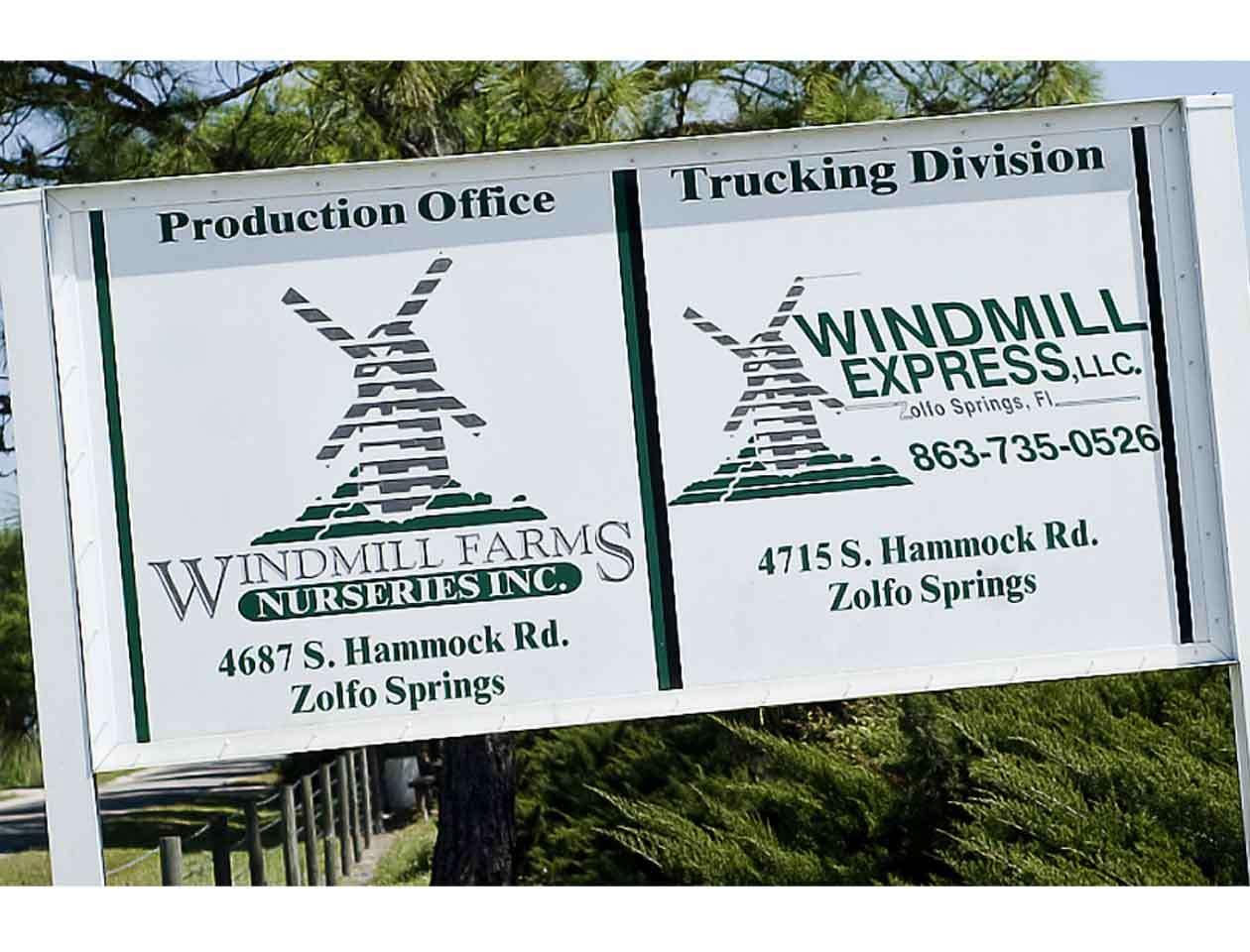 Windmill Farms Nurseries Inc se dedica a cultivar plantas en Zolfo Springs, Condado Hardee, en el centro de Florida. Foto: windmill farms