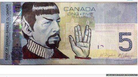 """Nota de 5 dólares canadenses com Spock, de """"Jornada nas Estrelas"""", desenhado sobre a figura de Wilfred Laurier Foto: Reprodução"""