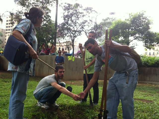 Os manifestantes plantam mudas no Parque Augusta Foto: Elisa Feres/Terra
