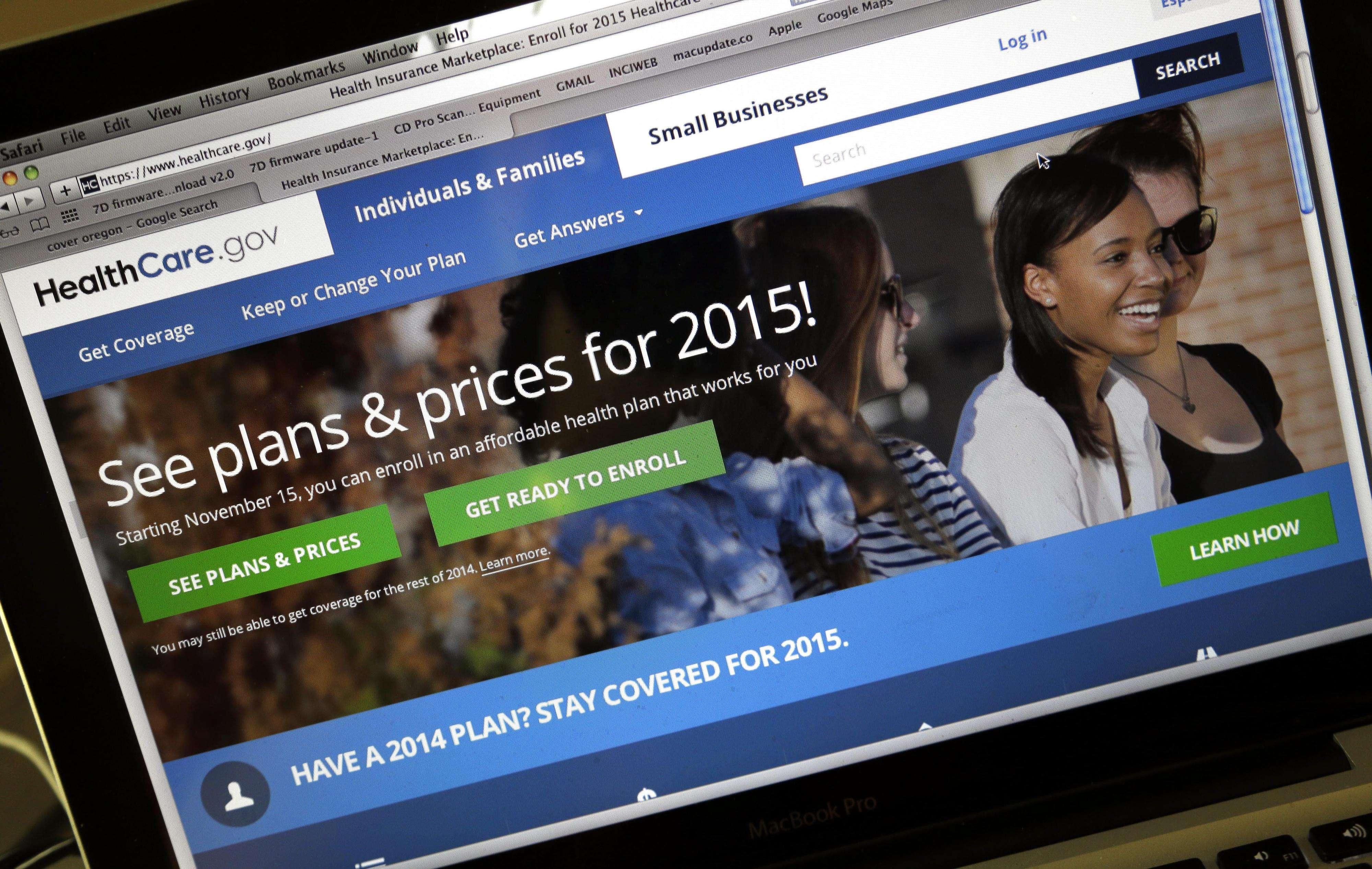 La página de internet HealthCare.gov, donde se puede adquirir el seguro de salud. Foto: AP en español