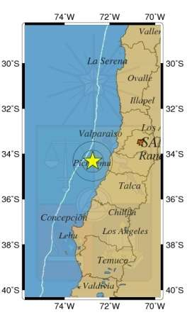 El movimiento telúrico se sintió a las 23:09 horas. Foto: Sismología de Chile