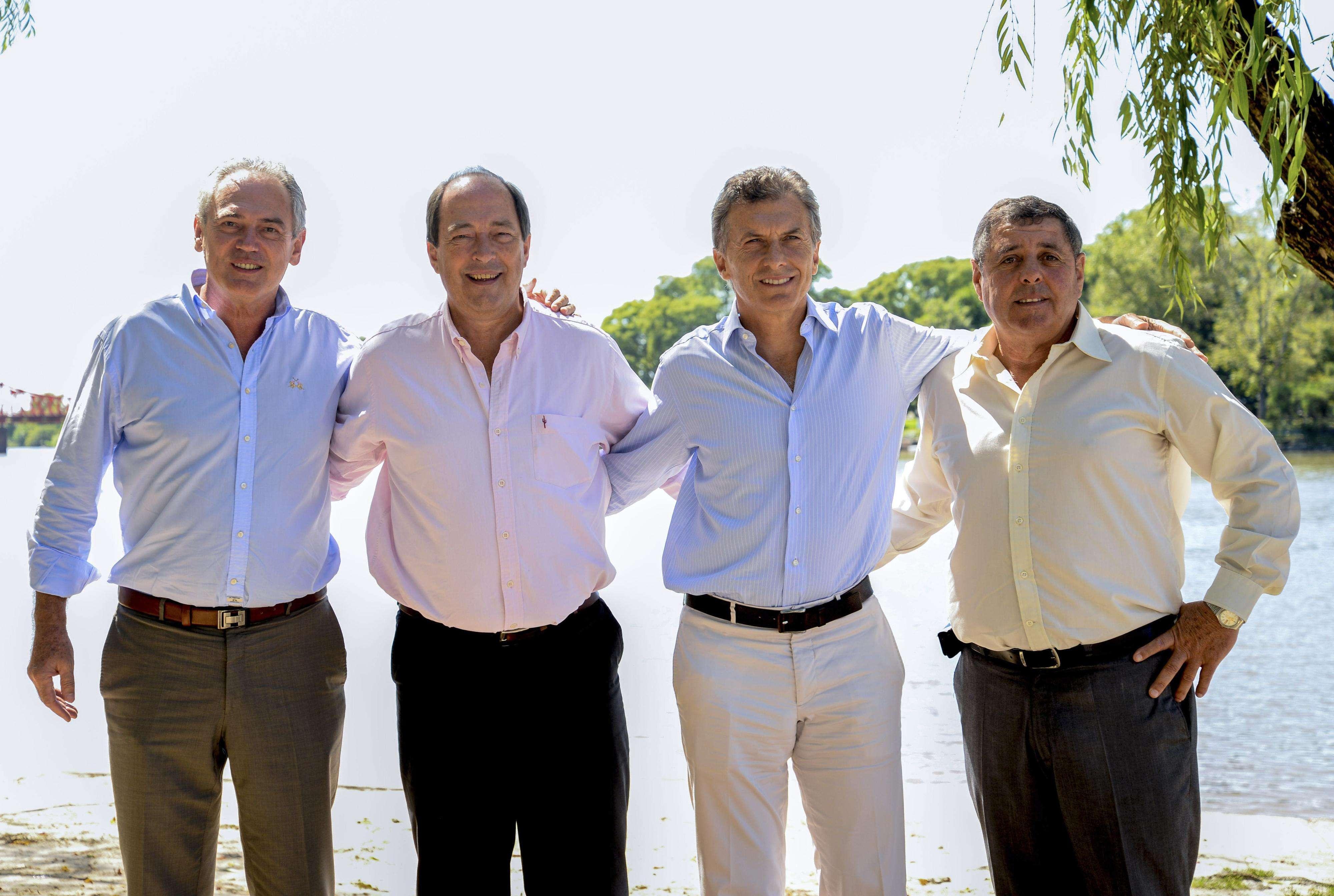 Atilio Benedetti (UCR), Ernesto Sanz (UCR), Mauricio Macri (PRO) y Alfredo de Angeli (PRO) Foto: Noticias Argentinas