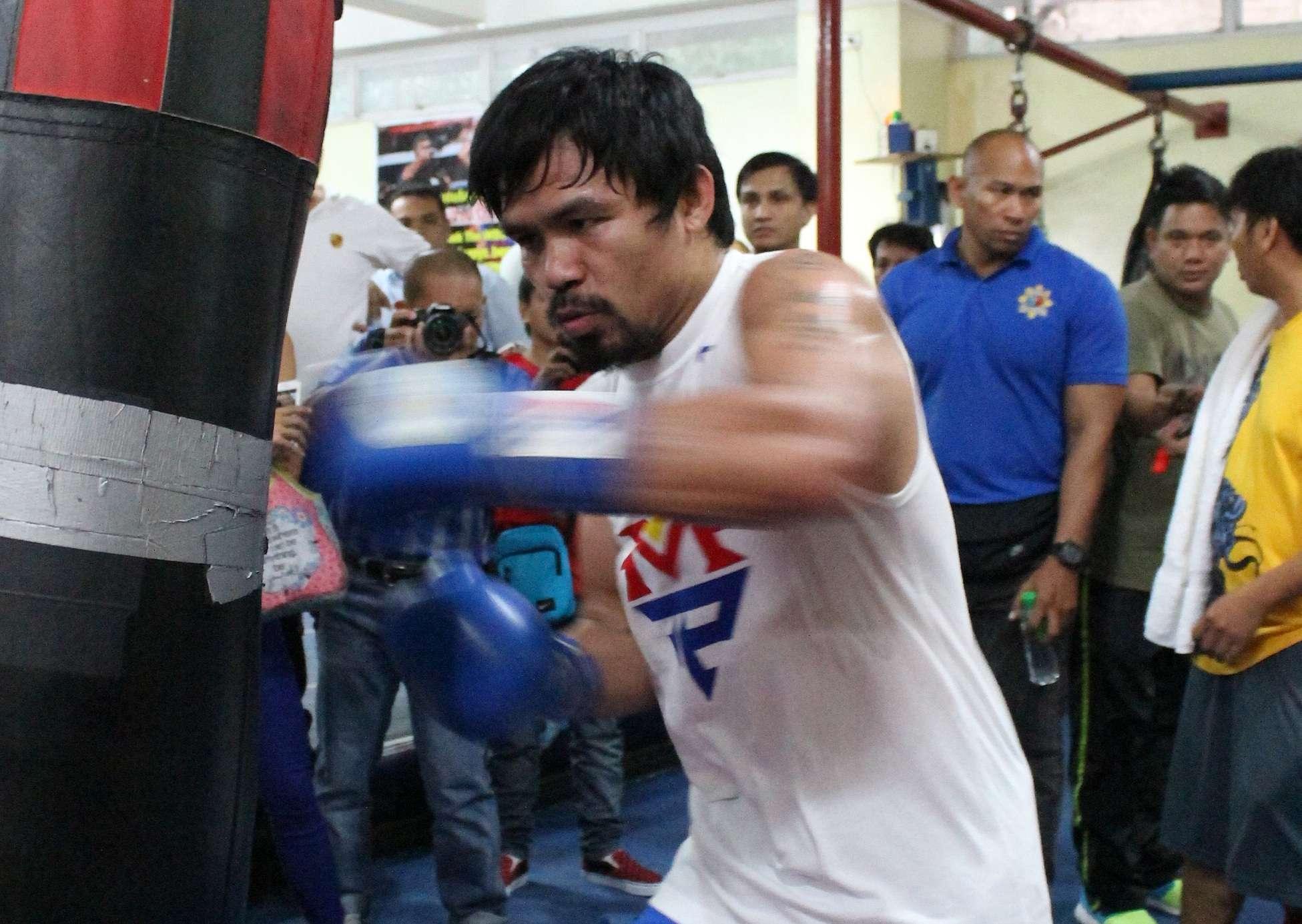 Entrenamiento de Manny Pacquiao para la pelea contra Floyd Mayweather Jr. Foto: AFP