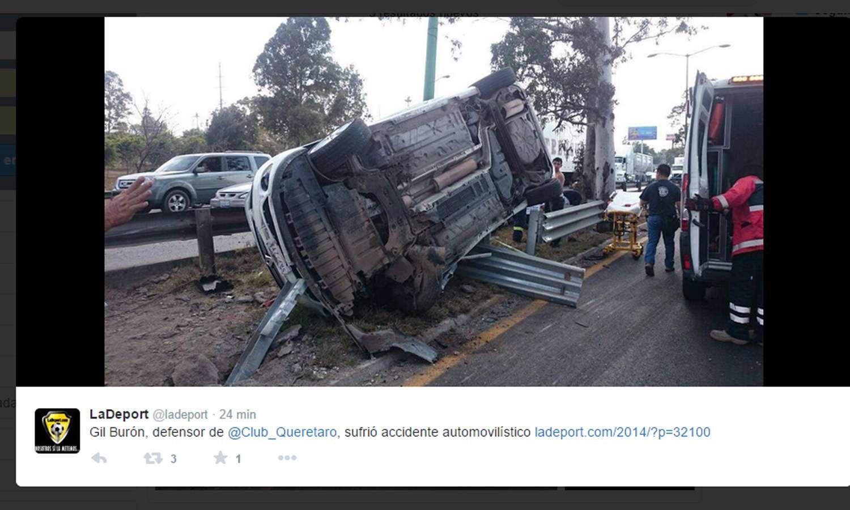 Así quedó el auto de Gil Burón Foto: @LaDeport