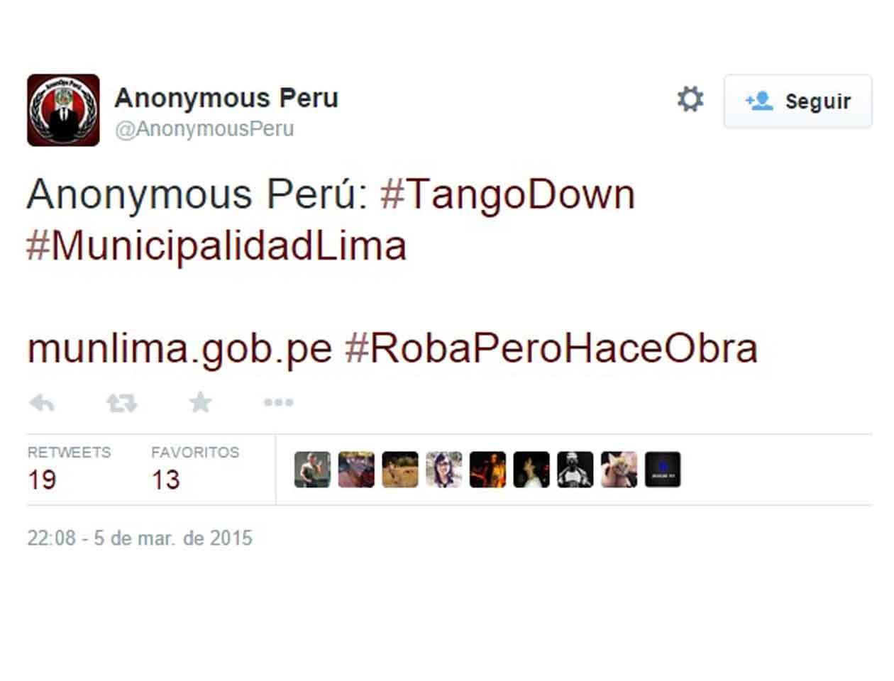 """En su mensaje de Twiiter, Anonymous Perú escribió """"Tango Down"""", frase militar que significa que un contendiente ha sido vencido. Foto: Twitter/Especial"""