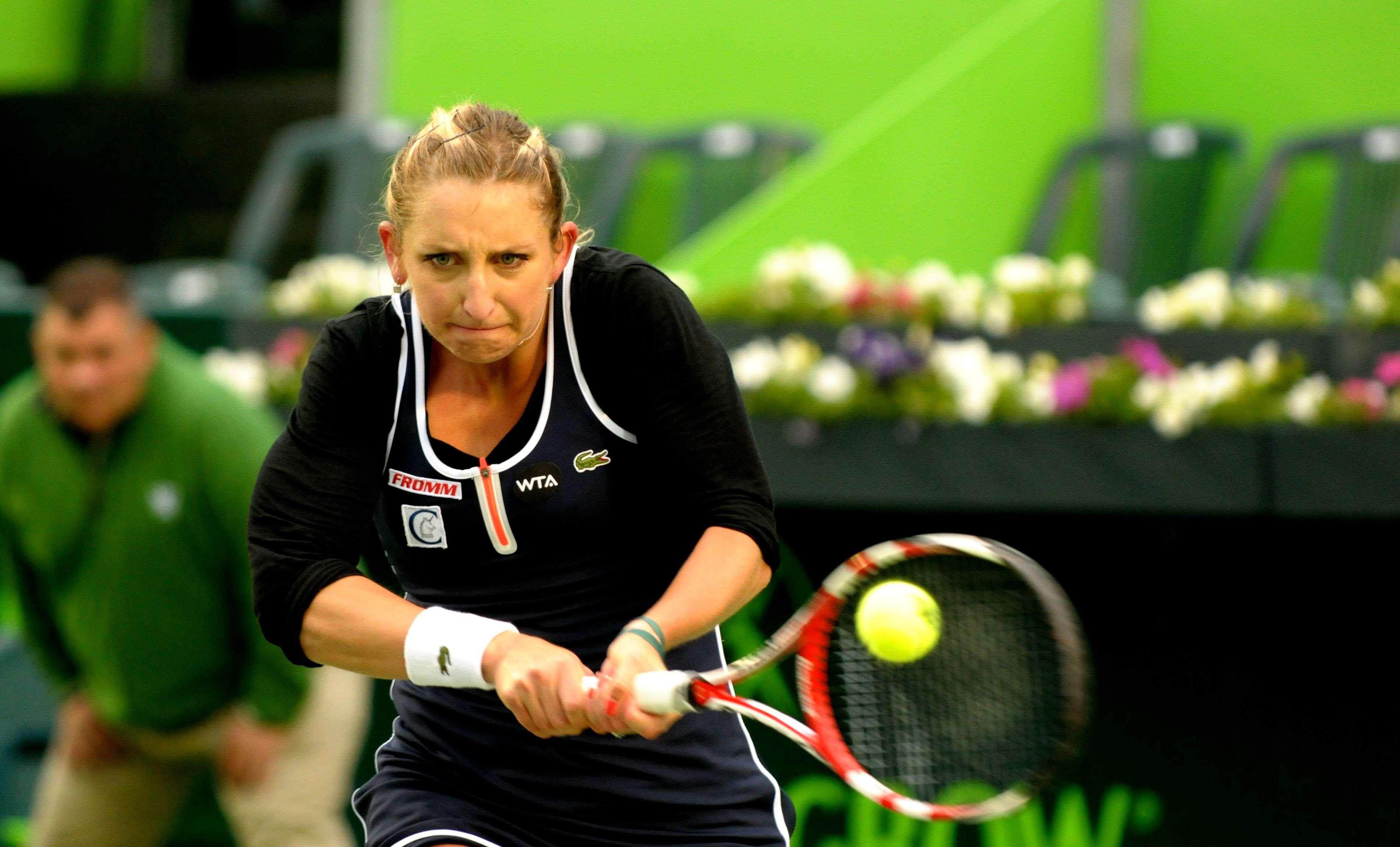 Timea Bacsinszky venció 4-6, 6-4 y 6-4 a Lesia Tsurenko.en el Abierto de Tenis Monterrey. Foto: Emilio López/Terra