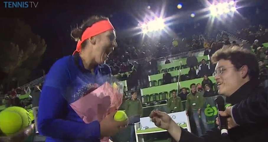 La propuesta que le realizaron a Anastasia Pavlyuchenkova en el Abierto de Tenis Monterrey. Foto: Twitter @TennisTV