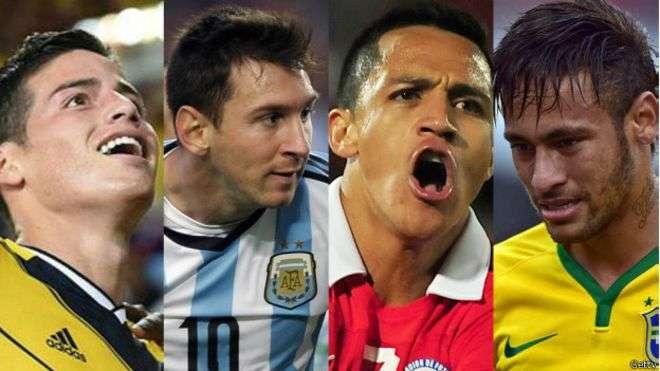 James, Messi, Alexis y Neymar: las principales bazas de cuatro de los firmes candidatos a alzarse con la Copa América. Foto: Getty Images