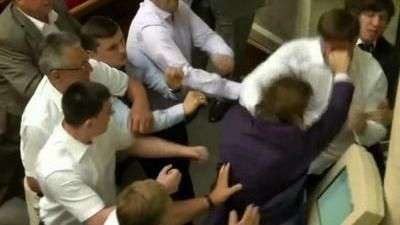 Fight Breaks Out in Ukraine Parliament