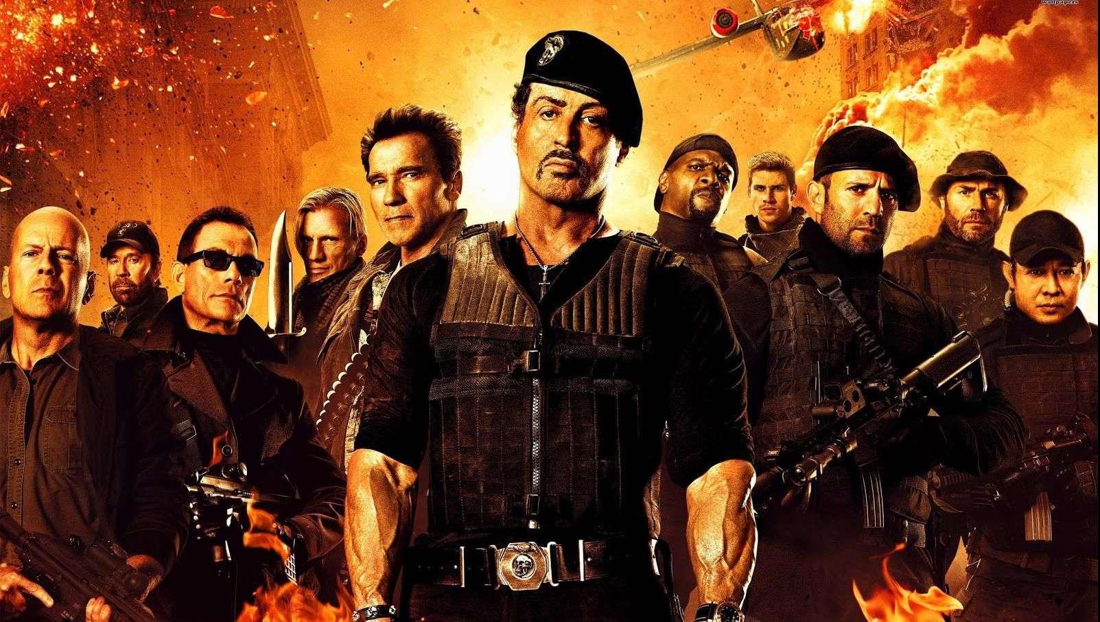 Héroes de cintas de acción luchan en Los Indestructibles 3