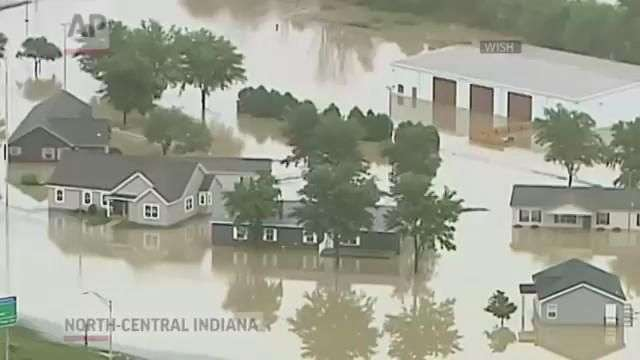 Severe Floods, Fire Wrecks Indiana Homes