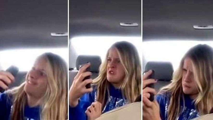 Padre filma la expresiva sesión de 'selfies' de su hija
