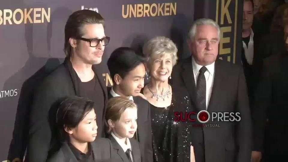 Familia Pitt sustituye a Angelina en estreno de 'Unbroken'