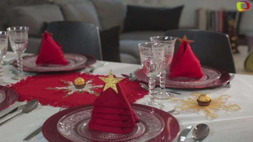 Servilletas en forma de árbol de Navidad para decorar la...