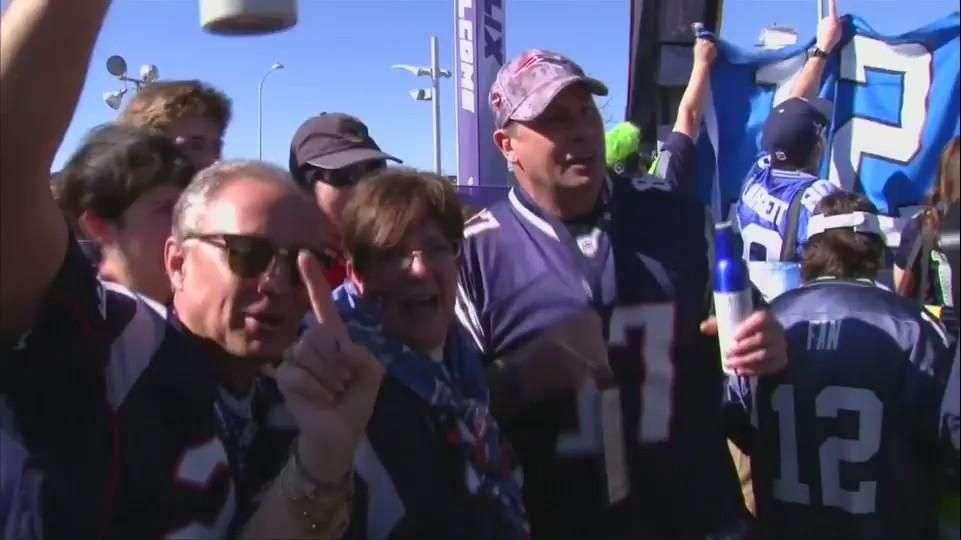 Fans de Patriots y Seahawks encienden el Super Bowl XLIX