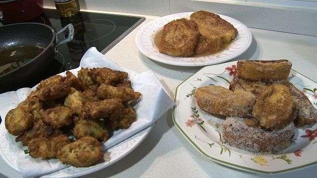 Buñuelos de bacalao y torrijas 'de rechupete'