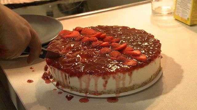 Tarta de queso y fresas 'de rechupete'