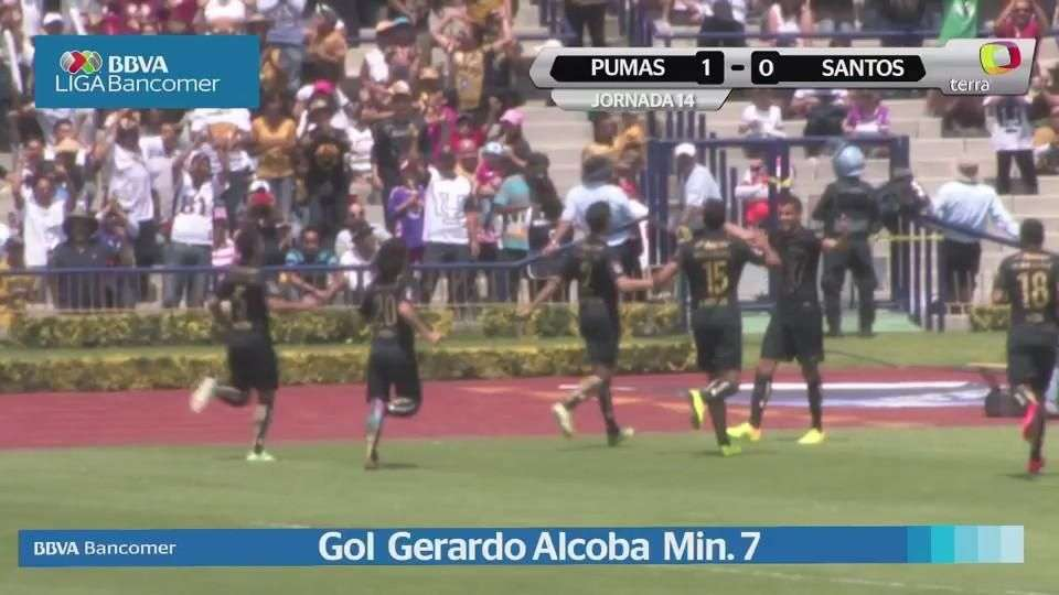 Jornada 14, Pumas 1-0 Santos, Liga Mx, Clausura 2015