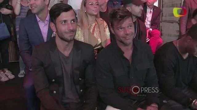 Ricky Martin y pareja, en primera fila del desfile de Balmain