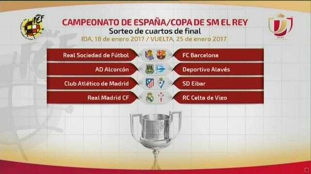 Real Sociedad-Barcelona, Atlético-Eibar y Real Madrid-Celta en cuartos de final de Copa