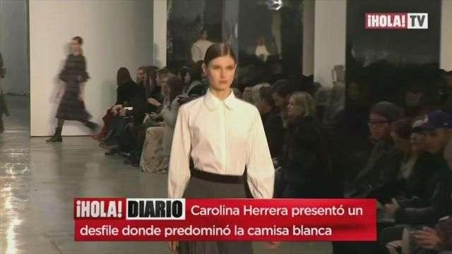 La diseñadora de modas Carolina Herrera presenta sus camisas Blancas