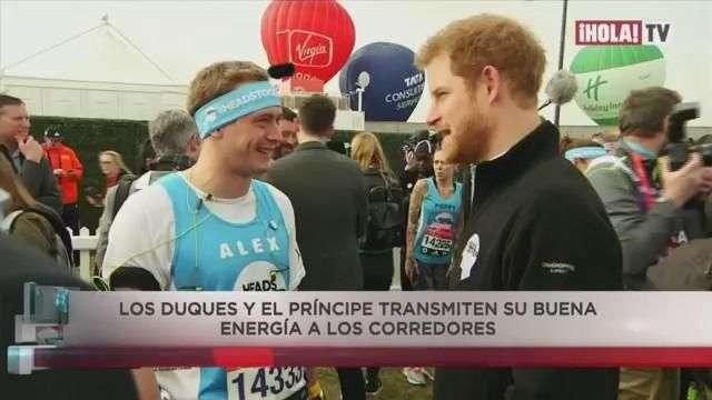Los duques de Cambridge y el príncipe Harry en la maratón de Londres