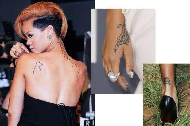 Rihanna es otra de las famosas que gustan de los tatuajes y tiene varios en su cuerpo Foto: Getty Images