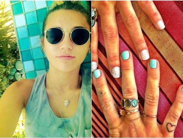 Miley se dibuja un punto negro rodeado por un círculo en el dedo índice en marzo de 2012.  El tatuaje es de un amuleto turco de nombre Nazar, para la protección  del mal de ojo y las malas miradas.  Foto: Twitter