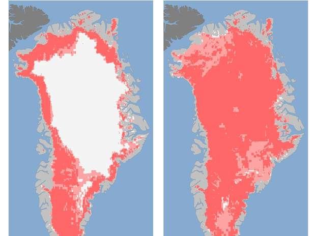 Imágenes de Groenlandia en las que se aprecia un súbito derretimiento sin precedentes en la superficie de la capa de hielo que aumentó de 40 a 97% del 8 al 12 de julio, según la NASA. La superficie derretida corresponde al color rosa oscuro, de acuerdo a las imágenes de tres satélites, aunque persiste la enorme capa de hielo.  Foto: Nicolo E. DiGirolamo, SSAI/NASA GSFC, y Jesse Allen, Observatorio Terrestre de la NASA) / AP