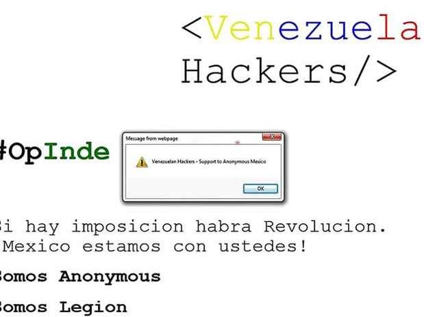 """La página del Grupo Parlamentario del PRI en el Senado de la República fue hackeada por un grupo llamado """"Venezuelan Hackers"""". Foto: Reforma"""