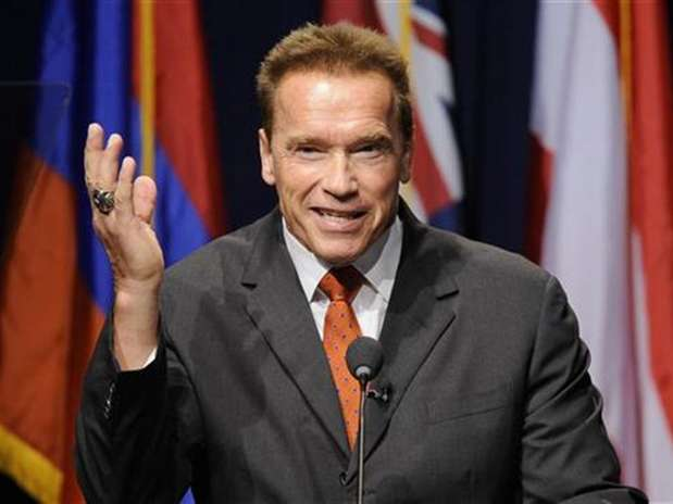 Former California Governor Arnold Schwarzenegger makes opening remarks during the University of Southern California's Schwarzenegger Institute for State and Global Policy inaugural Symposium in Los Angeles, California September 24, 2012.