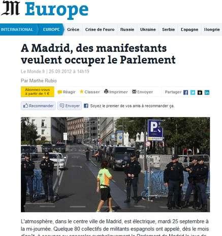 """El 'Le Monde' francés se hace eco de las protestas en España y recoge la intención de los manifestantes de """"rodear el Congreso"""". Foto: Le Monde"""