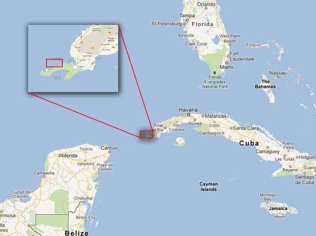 Un grupo de investigadores, dirigidos por los canadienses Paul Weinzweig y Pauline Zalitzki, aseguran haber encontrado restos arqueológicos sumergidos correspondientes a una ciudad prehispánica, cerca de la Península de Guanahacabibes, en la costa occidental de Cuba. Foto: Google Maps