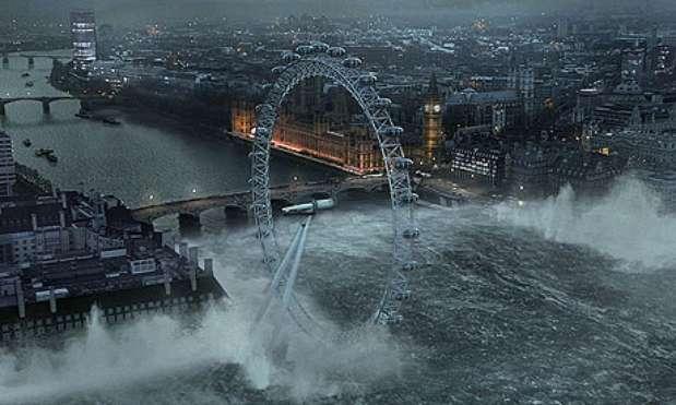 En 2008, la serie británica 'Flood' retrataba que una catastrófica inundación terminaría con Londres. Su estreno logró un rating de 7.2 millones de televidentes y aunque nadie creyó que esta imagen era verdad fue muy usada para ilustrar temas del fin del mundo. Foto: guardian.co.uk