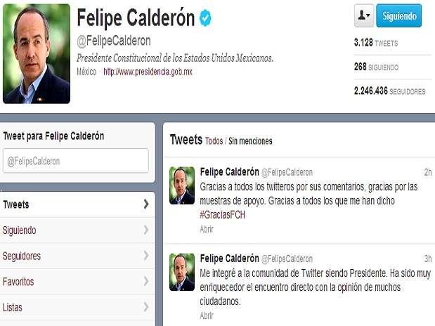 """Calderón escribió en su cuenta de Twitter \""""Gracias a todos los twitteros por sus comentarios, gracias por las muestras de apoyo. Gracias a todos los que me han dicho #GraciasFCH\""""..  Foto: Tomada de Twitter @FelipeCalderon"""