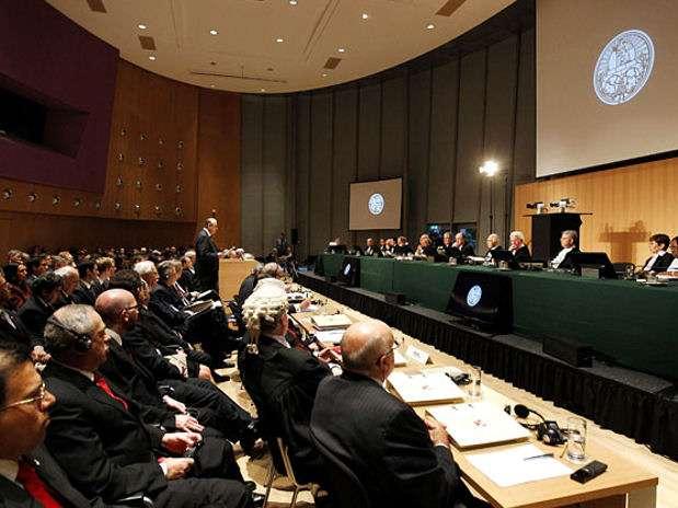 El Perú inició hoy la exposición de los alegatos orales ante los jueces de la Corte Internacional de Justicia de La Haya. Foto: AFP