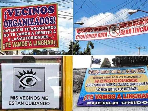 En los tres meses que llevan las pancartas, no se han registrado asaltos a comercios, aunque no ha habido linchamientos. Foto: Agustín Márquez / Reforma