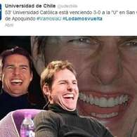 Piera y Tom Cruise protagonizan afiches de UC contra la U. Foto: Reuters y Reproduccin