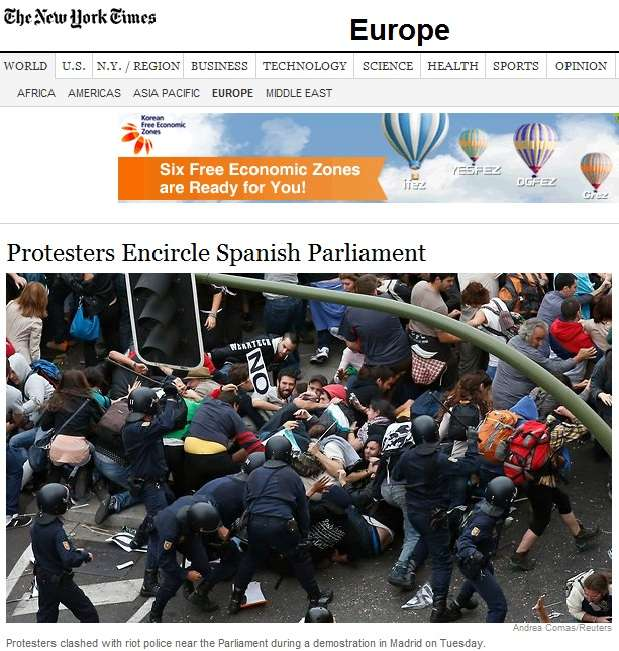 'New York Times' se hace eco de las protestas y disturbios en Madrid
