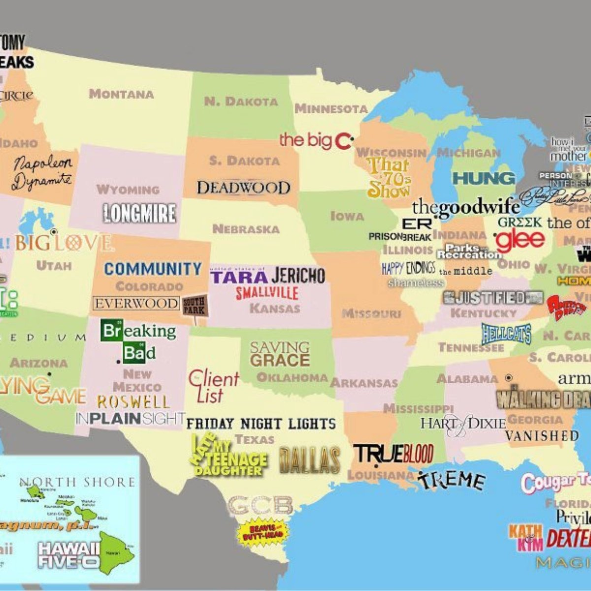 Mapa Mostra Series De Tv Em Diferentes Partes Dos Eua