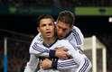 Cristiano Ronaldo é felicitado pelo capitão Sergio Ramos após abrir o placar