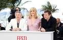 Roman Polanski apresenta 'Venus In Furs', em Cannes, entre os atoresEmmanuelle Seigner e Mathieu Amalric