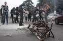Uma catraca de ônibus foi incendiada pelos manifestantes