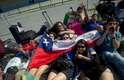 Recém chegados ao Rio, peregrinos chilenos foram ao sambódromo