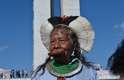 Figura tradicional nas manifestações indígenas, o cacique Raoni esteve presente ao ato em Brasília