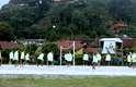 Jogadores da Seleção Brasileira jogaram futevôlei antes de começar os treinos físicos nesta quinta-feira