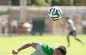 Tim Cahill treina com a seleção da Austrália nesta segunda-feira, em Vitória, no Espírito Santo. O time australiano, que faz parte do Grupo B, ao lado de Espanha, Holanda e Chile, estreia no Mundial no dia 13 de junho