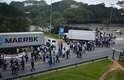 São José dos Campos (SP) - Funcionários da General Motors fazem protesto contra o projeto de lei 4330/2004