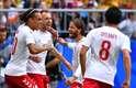Eriksen comemora seu gol contra a Austrália na Copa
