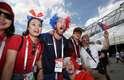 Grupo de torcedores franceses se reúne antes do jogo